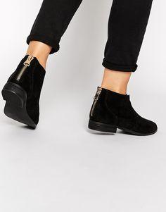 ALDO – Rairdon – Schwarze, flache Ankle Boots aus Wildleder