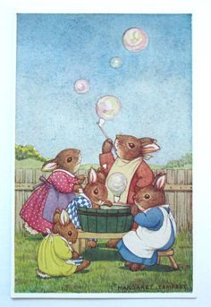 A/S Margaret Tempest RABBIT Family Blows BUBBLES Medici Society Postcard | eBay