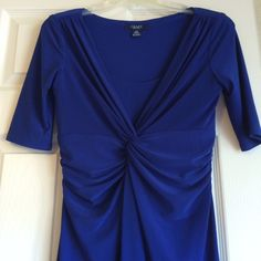 """Chaps Royal Blue Dress The color of this dress is just beautiful! The waist is super flattering. Measures (front): waist 13.5"""", chest 15"""", length from waist 28"""". Has some stretch. Chaps Dresses Midi"""