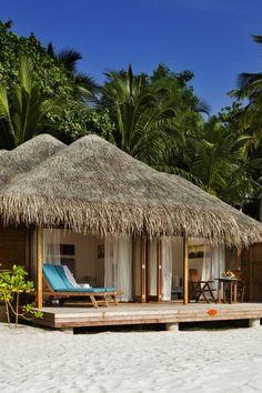 Tropical Beaches At Night Bamboo House Design, Tropical House Design, Tropical Beach Houses, Tropical Beaches, Best Island Vacation, Where Is Bora Bora, Hut House, Beach Bungalows, Beach Villa