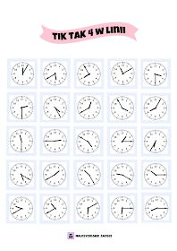 4 in a row 4 w linii Zegar tik tak 4 In A Row, Telling Time, Kids And Parenting, Vocabulary, Bingo, Teaching, Math Activities, Crochet Tote, School