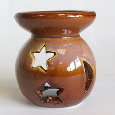 Oil Burner Rustic earth colour Stars Moon Design Glazed Ceramic Home Decor Gift £8.99 + free post Uk