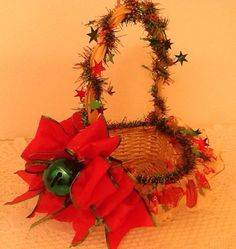Christmas Ready-To-Fill gift basket, Red w/green bell
