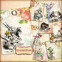 ALICE in WONDERLAND Tags Digital collage sheet by CherryPinkPrints, $4.00