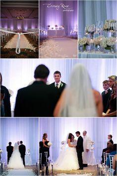 Ballantyne Hotel, wedding ceremony draping and lighting, Purple, Charlotte Wedding Planner    www.hallandwebb.com