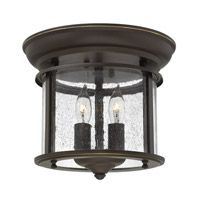"Hinkley Gentry flush mount 3472OB (oil-rubbed bronze); clear seedy panels; 9.3"" high and 9.5"" wide"