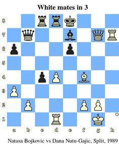 White mates in 3. Natasa Bojkovic vs Dana Nutu-Gajic, Split, 1989 www.chess-and-strategy.com #echecs #chess #jeu #strategie