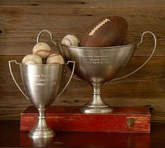 Stylish Vintage football trophies for storage from Pottery Barn