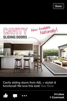 Cavity slide door bringing outside in and joining rooms together for entertaining.