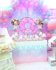 Donut Birthday Parties, Rainbow Birthday Party, Donut Party, Baby Girl Birthday, Birthday Party Themes, Birthday Ideas, Fun Sleepover Ideas, Grown Up Parties, Twins 1st Birthdays