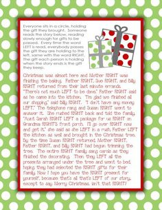 This site has 15 Christmas Games for Your Family Party including this one Gift Exchange Story.