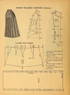 What We Did When The Power Went Out (Sewing In Walden): Misses' Walking Costume 1888 Kilt skirt pleats Victorian pattern Doll Dress Patterns, Costume Patterns, Clothing Patterns, Skirt Patterns, Coat Patterns, Blouse Patterns, Mode Steampunk, Patron Vintage, Victorian Pattern