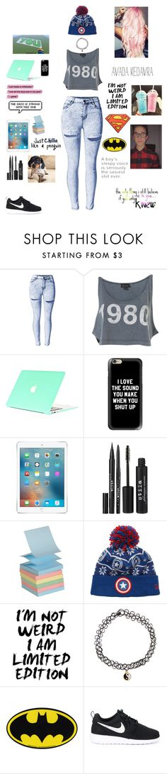 """""""Broadcasting with Hunter Rowland"""" by nyla-mcclure ❤ liked on Polyvore featuring Casetify, Stila, Marvel Comics, YOUNOW, Accessorize and NIKE"""