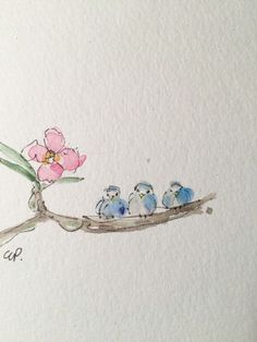 Three Little Birds Watercolor Card \/ Hand painted by gardenblooms