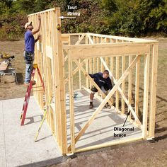 How to build a shed step by step. First you must obtain some shed plans to get you started. With those shed plans you can create a materials list. Shed Construction, Firewood Shed, Build Your Own Shed, Storage Shed Plans, Backyard Sheds, Building A Shed, Building Design, Building Ideas, Wooden Walls