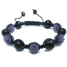 Black Glass & Multi Purple Diamante Bead Fashion Bracelet, Puckator USA & Canada Giftware Wholesalers