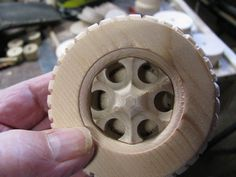 Wooden Models #166: Mag Wheel Making Jig - by htl @ LumberJocks.com ~ woodworking community Wooden Toy Wheels, Wooden Toy Trucks, Wooden Plane, Wooden Wheel, Wooden Car, Woodworking Bandsaw, Making Wooden Toys, Cnc, Wood Toys Plans