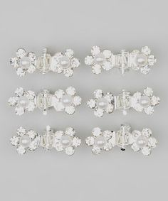 Look what I found on #zulily! Silver Faux Pearl Flower Crystal Mini Clip - Set of Six by Picki Nicki #zulilyfinds
