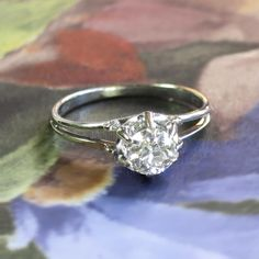 Vintage .57ct Russian Solitaire Old European Cut Diamond 18k White Gold Engagement Ring