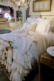Shabby Chic Bedding - Just Practicing Random Acts of Kindness: Ruffles & Rust Shabby Chic Interiors, Shabby Chic Bedrooms, Shabby Chic Decor, Farmhouse Bedrooms, Romantic Bedrooms, Dream Bedroom, Home Bedroom, Bedroom Decor, Bedroom Eyes