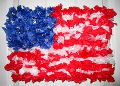 Tissue paper flag art project for Flag Day, Fourth of July, Veteran's Day, or Election Day