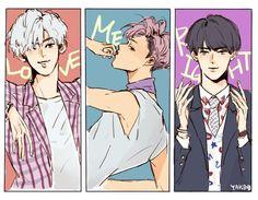 Love me right fan art ❤ Chanyeol x Kai x sehun Cr : yaaaaak_bob