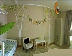 tree mural, love the bunting, would be super cute for playroom!