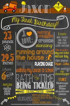 Custom Construction Theme Birthday Chalkboard Poster Printable Construction First Birthday Birthday Board, Baby First Birthday, First Birthday Parties, Birthday Party Themes, First Birthdays, Birthday Ideas, Construction Birthday Parties, Construction Party, Cabin In The Woods