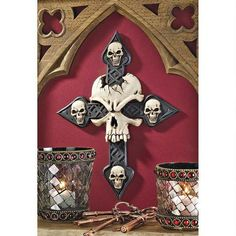 Spellbound Skull Cross Wall Sculpture