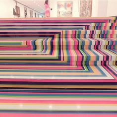 Jim Lambie, Zobop (Stairs), 2003, Albright-Knox Art Gallery, Buffalo, NY. Jim Lambie, Color Theory, Basic Colors, Still Life, Buffalo, Ss, Arch, Art Gallery, Therapy