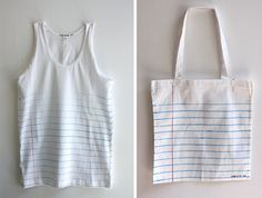 DIY Loose leaf notebook paper, Tank & Book bag. Love these