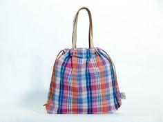 กระเป๋าผ้าขาวม้า Small Leather (Orange-Pink)