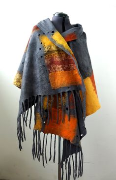 "Nuno felted scarf shawl poncho felting wool luxury   ""Autumn"""