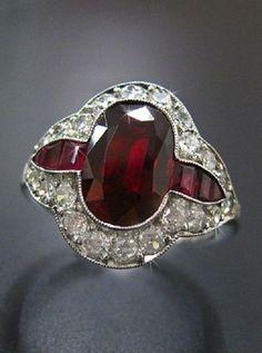 Ruby Jewelry, Diamond Jewelry, Fine Jewelry, Jewelry Making, Tiffany Jewelry, Jewellery, Art Deco Diamond, Art Deco Ring, Art Deco Jewelry
