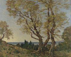 The olive trees in Menton  \\ French artist Henri-Joseph Harpignies (1819-1916)
