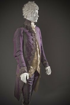 3-piece suit, Europe, circa 1790, altered circa 1805. Coat and breeches: purple silk plain taffeta with sequins and metallic-thread embroidery; waistcoat: pale yellow silk satin with sequins and metallic-thread embroidery.