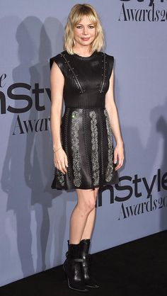 Michelle Williams in a Louis Vuitton mini dress and boots at the InStyle Awards