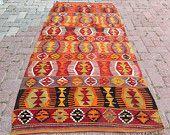 High Quality orange red Vintage Handwoven kilim rug, Turkish kelim, floor rugs, Flatwoven Turkish rug, Unique Living room decor, area rug