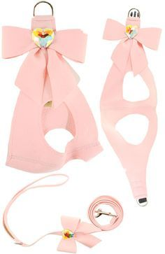 Susan Lanci Big Bow Harness Pink For Small Dogs, Puppy, Designer, Pet Boutique