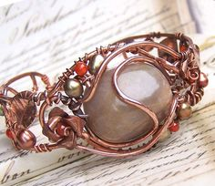 Bracelet, green brown, moonstone, wire wrapped artisan copper jewelry