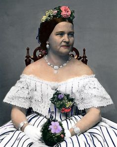 Mary Todd Lincoln 1818-1882, Wife of Abraham.   Lovely color added to her CDV.