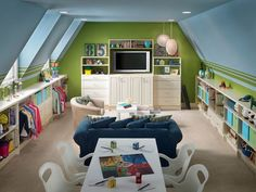 This type of roof usually means that the side walls should be used for storage and the center of the room should contain the important pieces such as the sofa or table. Turn The Attic Into A Perfect Play Area For The Kids - 25 Inspirational Design Ideas