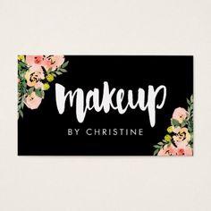 #makeupartist #businesscards - #makeup modern script floral decor business card