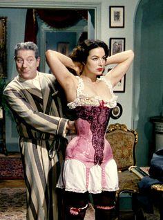 Jean Gabin and María Felix in French Cancan, 1954. Via http://hollywoodlady.tumblr.com/