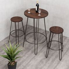 3 Piece Bistro Pub Set Round Table Counter Height Stools Wood Metal Furniture #Unbranded