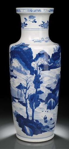 A fine blue and white porcelain rouleau vase with scholar's and a sea landscape, China, Kangxi period