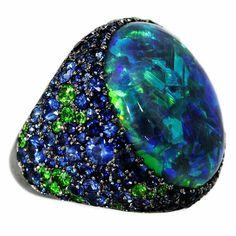 #garbo #australian #black #opal #ring #sapphires #green #demantoidgarnet #exquisite #masterpiece