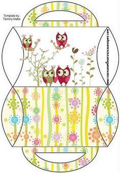 Caja almohada con asas, pareja de búhos.
