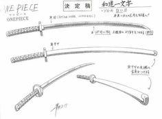 Roronoa Zolo / Roronoa Zoro sheet, Wado Ichimonji / Wadou Ichimonji, Official reference, Settei Sword Reference, Drawing Reference Poses, Drawing Poses, Drawing Tips, Game Concept Art, Weapon Concept Art, Sword Drawing, One Piece Chapter, Japanese Tattoo Art