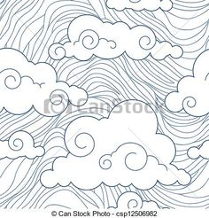 Vector - Seamless stylized clouds pattern - stock illustration, royalty free illustrations, stock clip art icon, stock clipart icons, logo, line art, EPS picture, pictures, graphic, graphics, drawing, drawings, vector image, artwork, EPS vector art